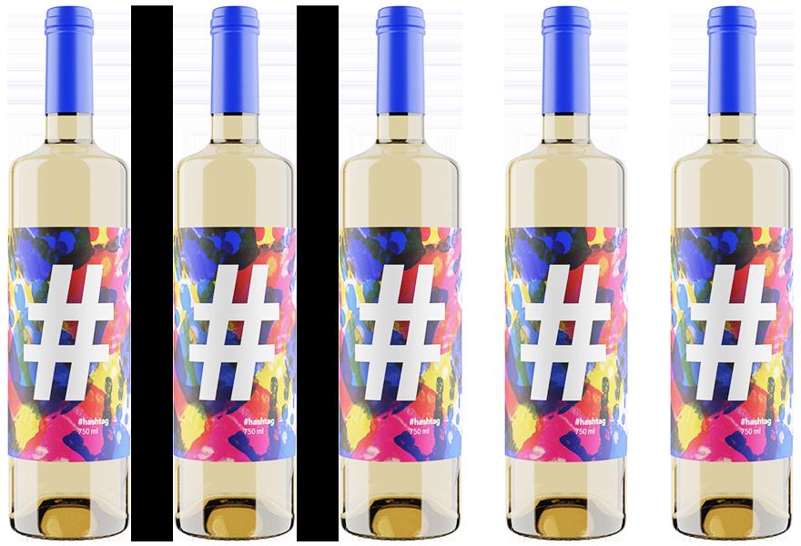 botellas hashtag